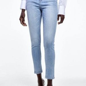 ZARA High Rise Skinny FLAWED Blue Jeans NWT sz 4